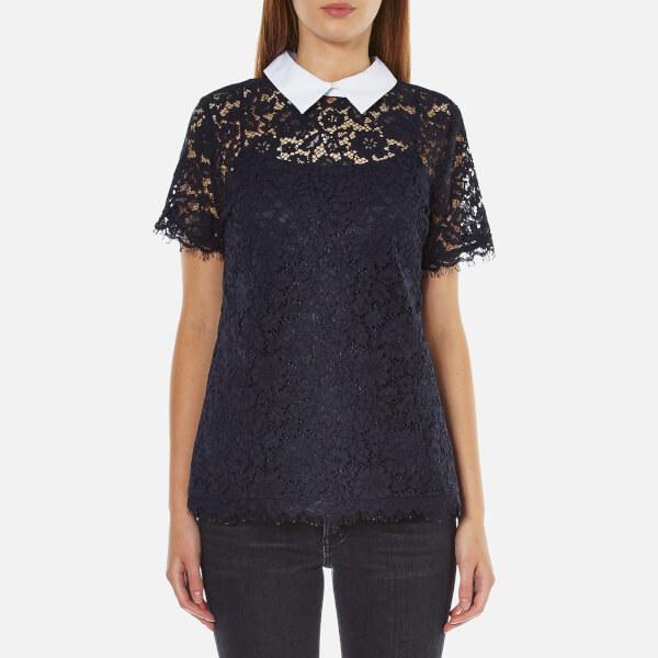 MICHAEL MICHAEL KORS Women's Collared Lace T-Shirt - New Navy