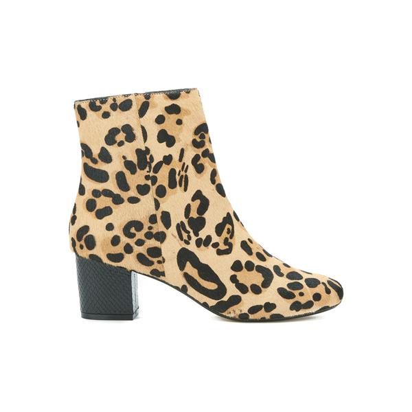 Dune Women's Pebbles Mid Heeled Suede Boots - Leopard Pony