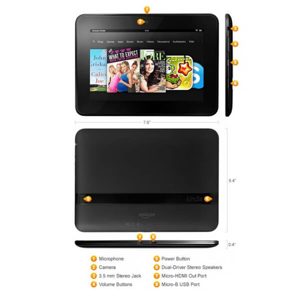Kindle Fire HD 7' 16GB Tablet (Re-Flashed To Android 4.4