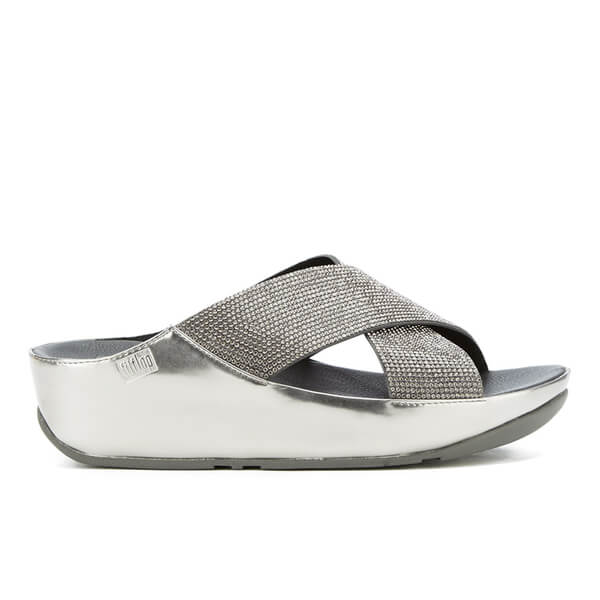 a8a640a583c4 FitFlop Women s Crystall Slide Sandals - Pewter  Image 1