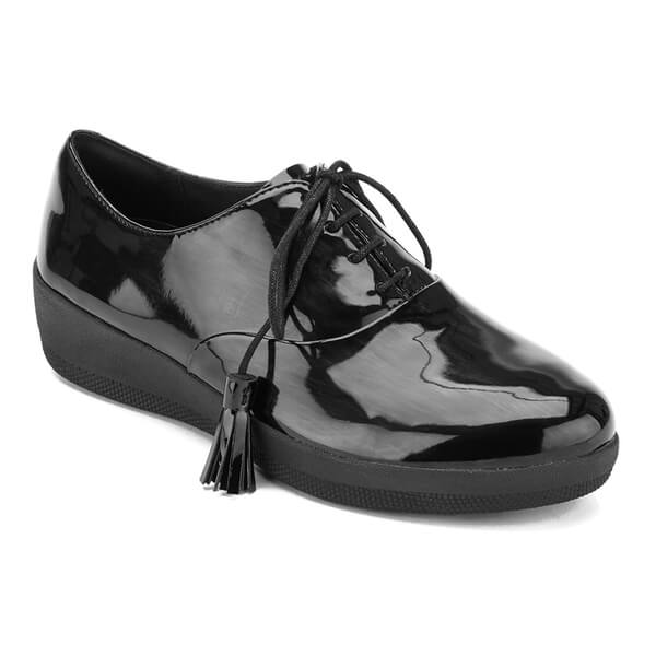 67a60326a5fc FitFlop Women s Classic Tassel Superoxford Patent Shoes - All Black  Image 2