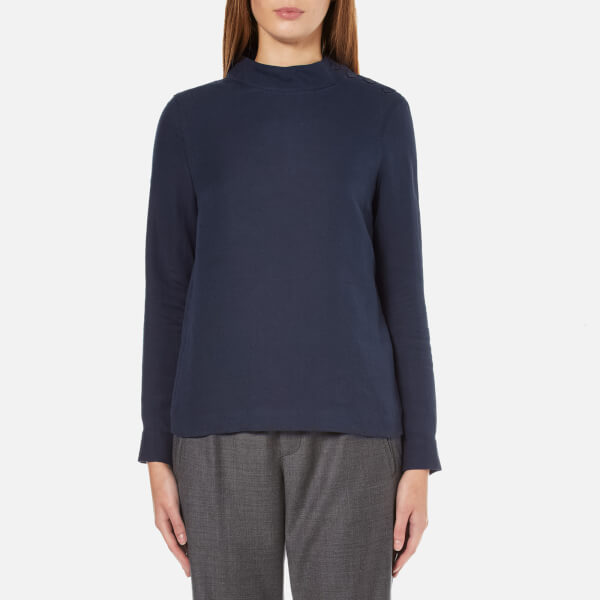 A.P.C. Women's Lois Side Button Long Sleeve Top - Navy
