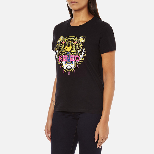 KENZO Women s Tiger Embroidered T-Shirt - Black - Free UK Delivery ... 9e2e2c372fb