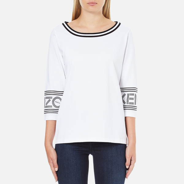 KENZO Women's Strip Logo 3/4 Sleeve Top - White