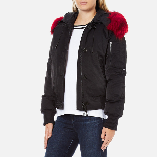 KENZO Women's Removable Red Fur Lined Short Parka - Black - Free ...