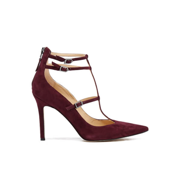 Sam Edelman Women's Hayes Suede T Bar Court Shoes - Port Wine