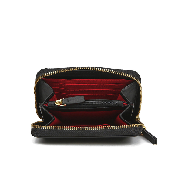 lulu guinness womens small zip around wallet black