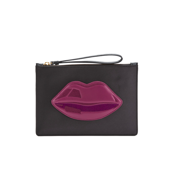 Lulu Guinness Women's Grace Medium Lips Clutch - Black/Casis