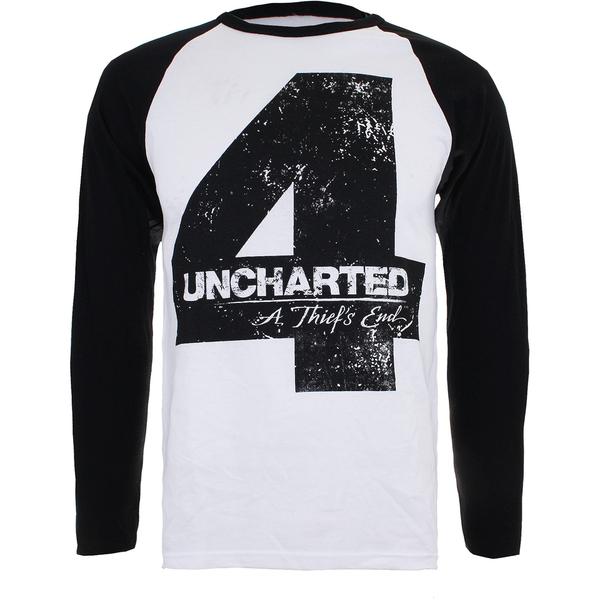 Camiseta manga larga Uncharted 4 - Hombre - Blanco/negro