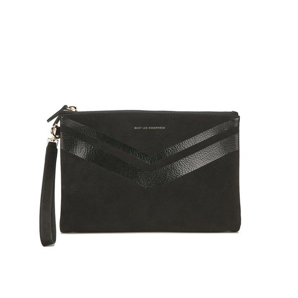 WANT LES ESSENTIELS Women's Barajas Zip Folio - Black Nubuck Stripe