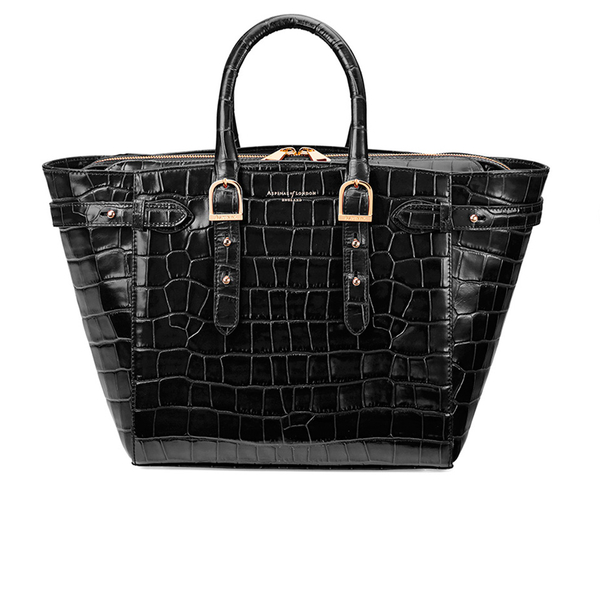 Aspinal of London Women's Marylebone Medium Croc Tote - Black Croc