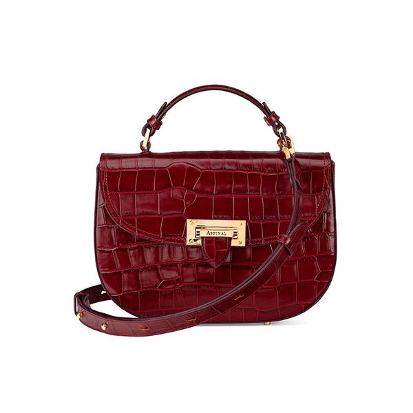 Aspinal of London Women's Letterbox Croc Saddle Bag - Bordeaux