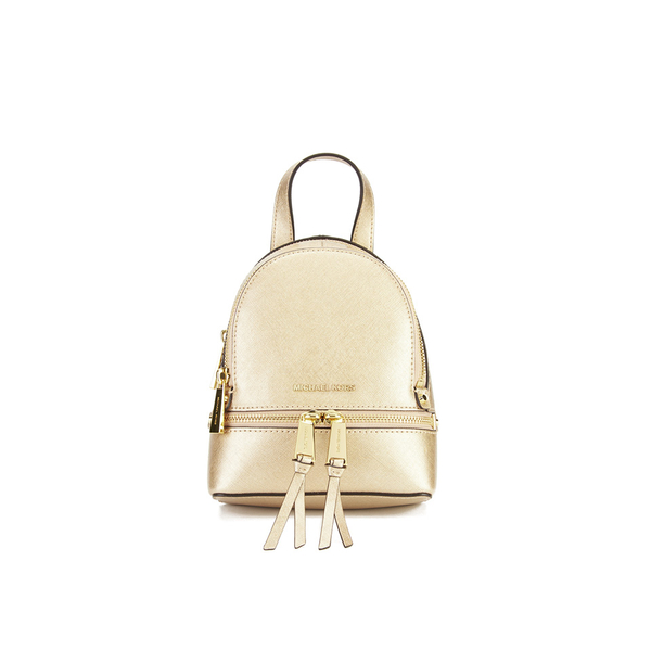 6b7f7b4042b2 MICHAEL MICHAEL KORS Rhea Zip Small Crossbody Backpack - Gold: Image 1