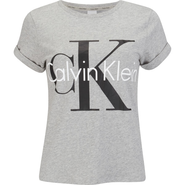 Calvin Klein Women's Logo Short Sleeve Crew Neck T-Shirt - Grey Heather
