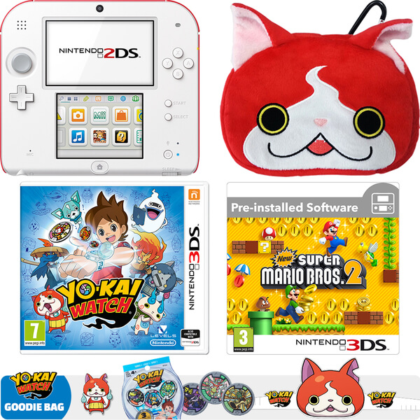 Nintendo 2DS White/Red + YO-KAI WATCH + Super Mario Bros. 2 Pack
