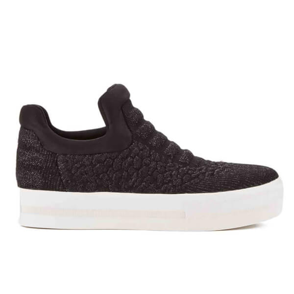 Ash Women's Jaguar Knitted Sock Slip-On Trainers - Black/Shiny Black