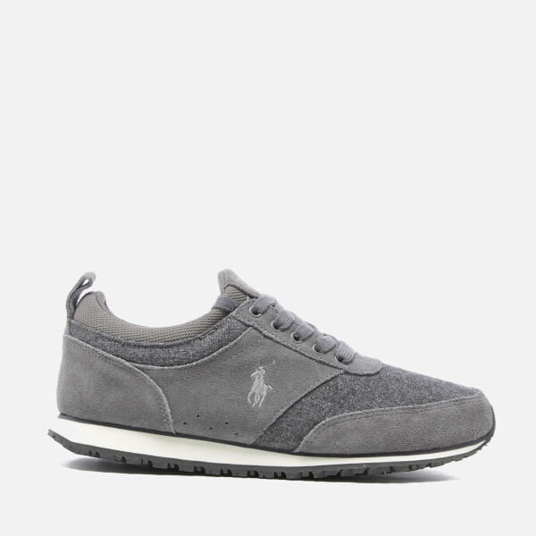 Polo Ralph Lauren Men's Ponteland Suede/Flannel Low Top Trainers - Grey/Charcoal Grey