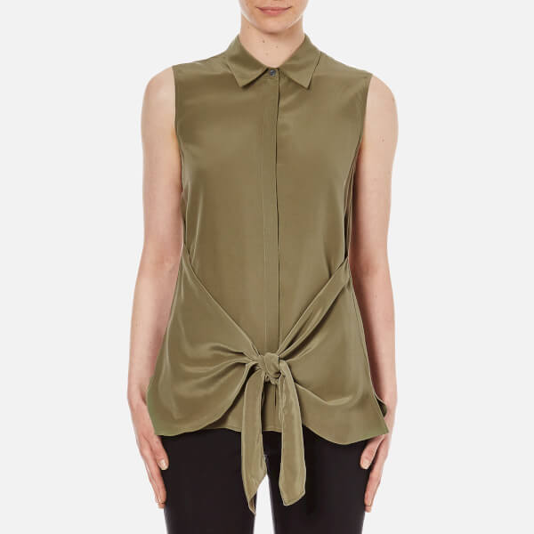 Theory Women's Zallane Summer Silk Sleeveless Shirt with Tie Front - Moss
