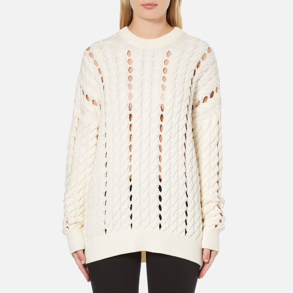 Alexander Wang Women's Crew Neck Cable Long Sleeve Jumper with Intarsia Slits - Bone
