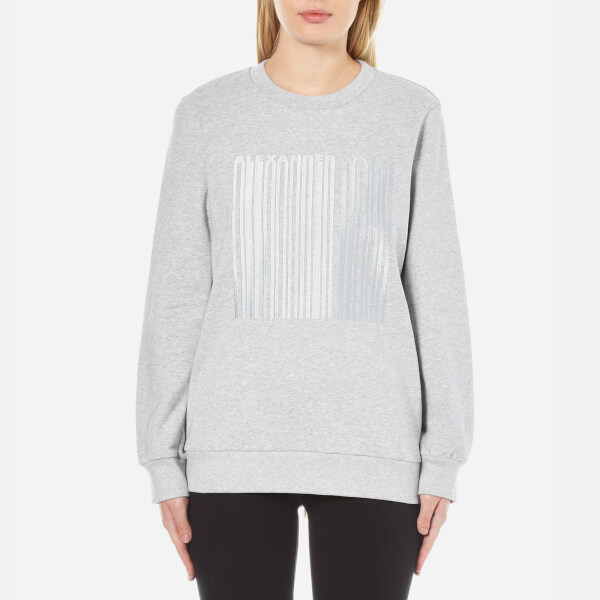 Alexander Wang Women's Oversized Sweatshirt with Barcode Embroidery - Gravel