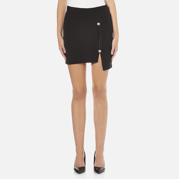 Versus Versace Women's Button Jersey Split Skirt - Black