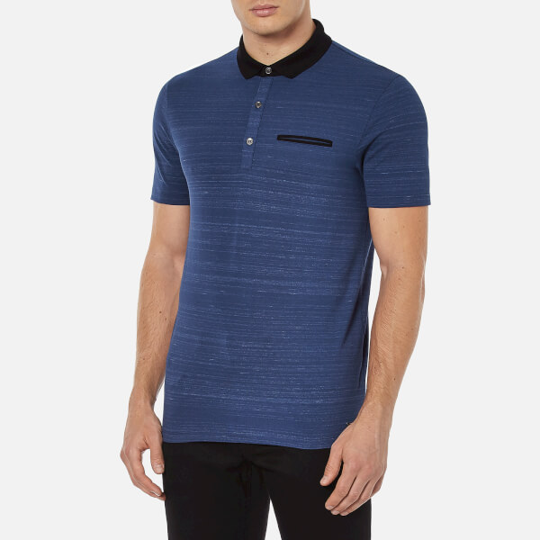 Hugo Men 39 S Desaro Contrast Collar Polo Shirt Royal Blue