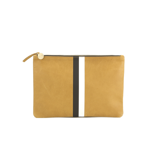 Clare V. Women's Supreme Flat Clutch Bag - Camel Black/White Stripes