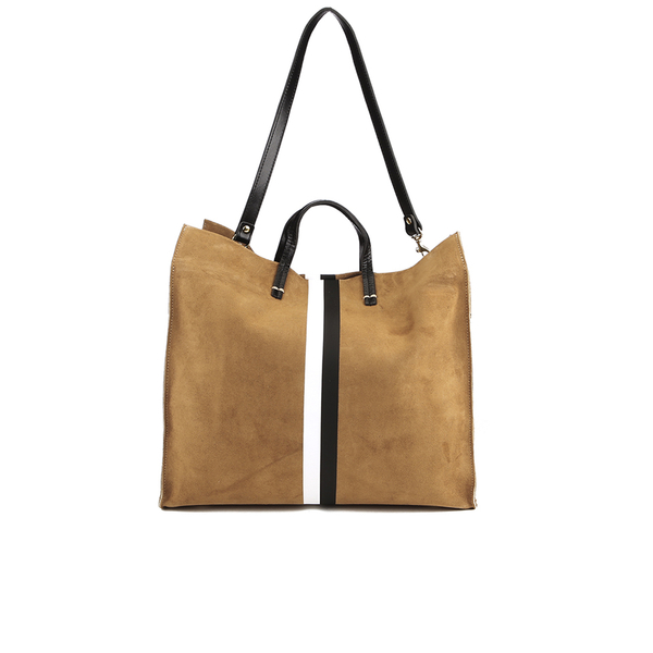 Clare V. Women's Supreme Simple Tote Bag - Camel Suede With Black/White Stripes