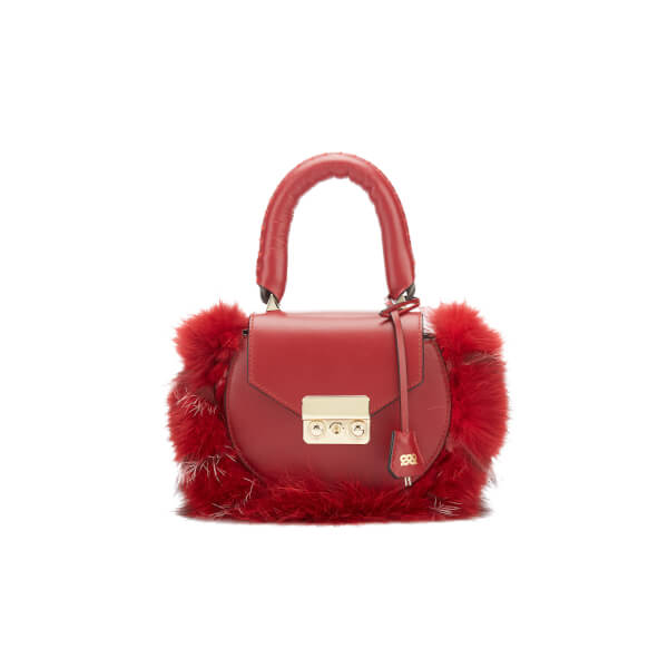 SALAR Women's Mimi Mini Fur Bag - Bordeaux
