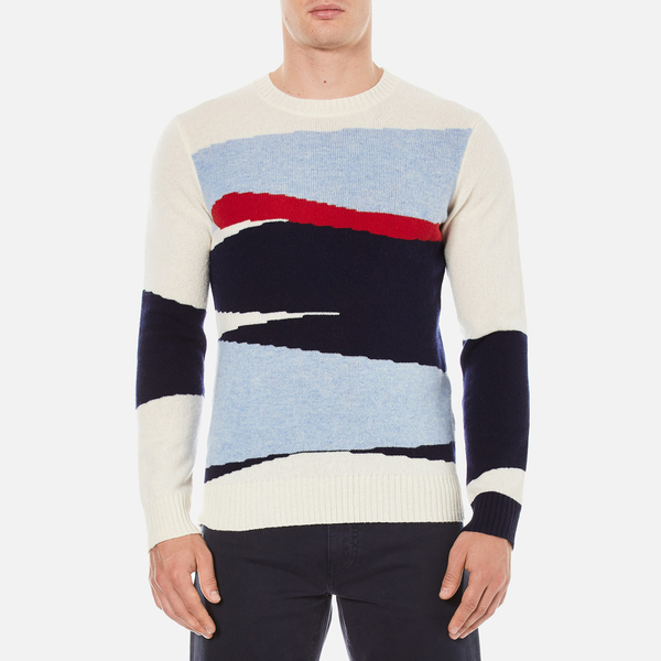 GANT Rugger Men's Intarsia Block Jacquard Jumper - Cream