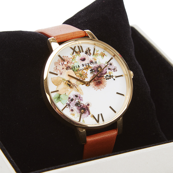 OLIVIA BURTON WOMEN'S FLOWER SHOW WATERCOLOUR WATCH - TAN GOLD的圖片搜尋結果