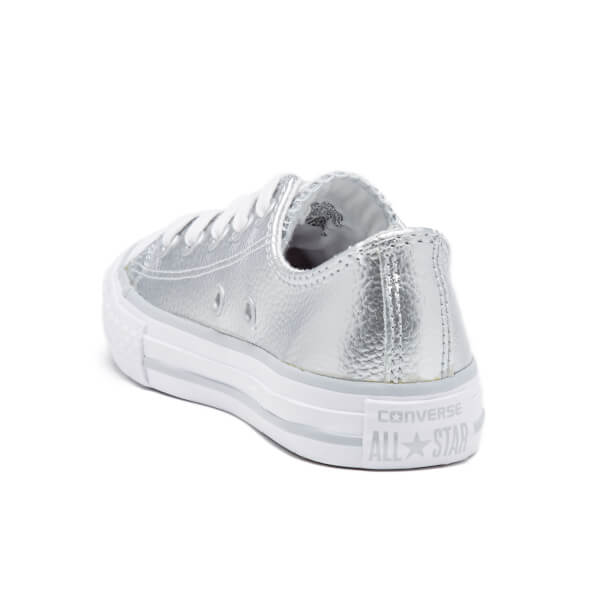 1213feba9ff2 Converse Kids  Chuck Taylor All Star Metallic Leather OX Trainers - Pure  Silver White