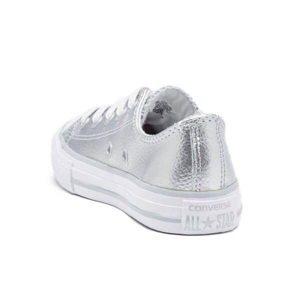 e844fd1c32c0 ... order converse kids chuck taylor all star metallic leather ox trainers  pure silver white 1c86f 382f8 ...