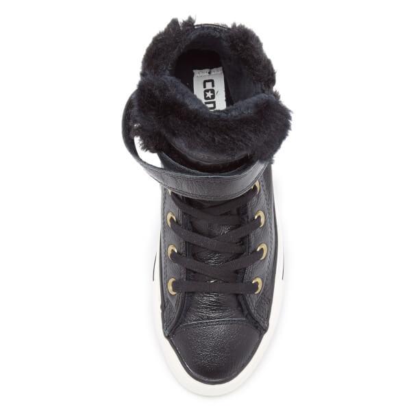 d1d0993f3e9ed Converse Women s Chuck Taylor All Star Brea Leather Fur Hi-Top Trainers -  Black
