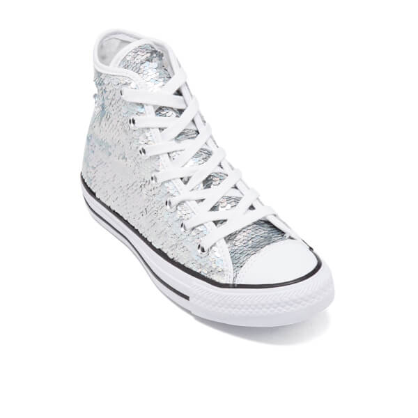 08d67467d6d648 Converse Women s Chuck Taylor All Star Holiday Party Hi-Top Trainers -  Silver White