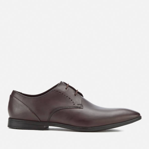 Clarks Men's Bampton Lace Leather Derby Shoes - Walnut