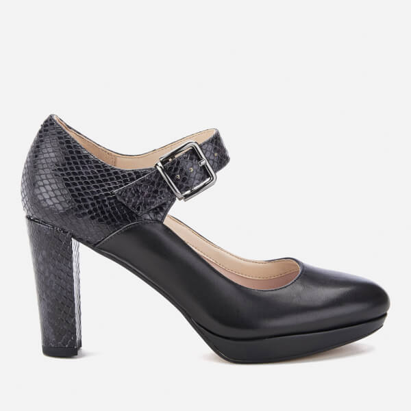Clarks Women's Kendra Gaby Leather Mary Jane Heels - Black Combi: Image 1