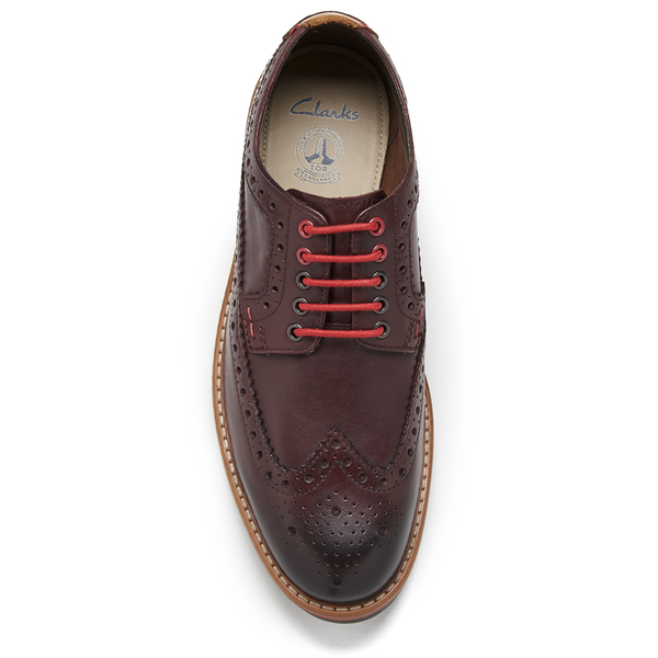 Clarks Men s Pitney Limit Leather Brogues - Chestnut  Image 3 e1f8257be96