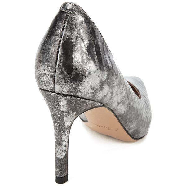 Clarks Women s Dinah Keer Leather Metallic Court Shoes - Silver Metallic   Image 5 ea77d87847