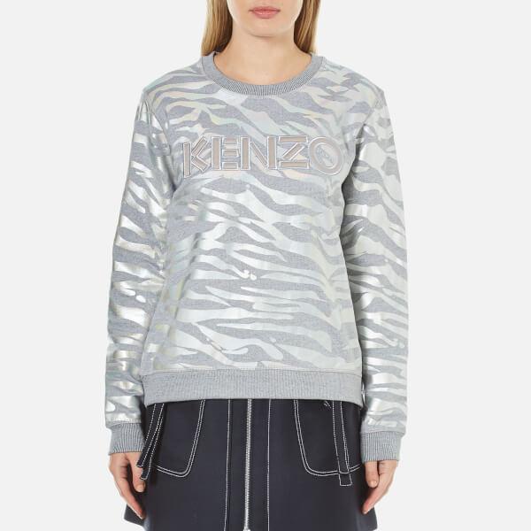 KENZO Women's Iridescent Tiger Print Jumper - Pearl Grey