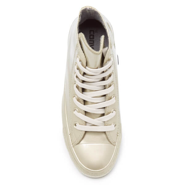 a7dbd5d4082244 Converse Women s Chuck Taylor All Star Metallic Rubber Hi-Top Trainers - Light  Gold