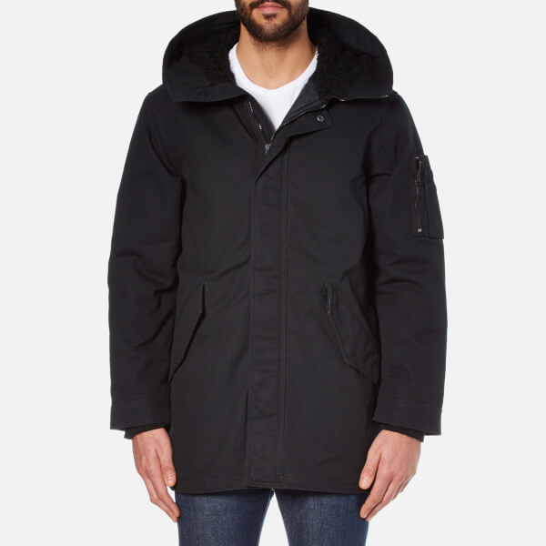 Converse Men's Quilted Fishtail Parka - Black Clothing | TheHut.com