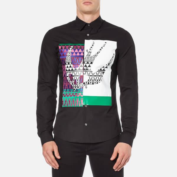McQ Alexander McQueen Men's Abstract Swallow Print Googe Shirt - Darkest Black