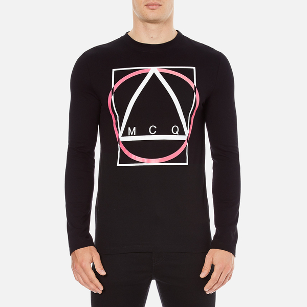 McQ Alexander McQueen Men's Abstract McQ Printed Long Sleeve Crew T-Shirt - Darkest Black