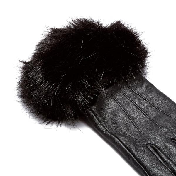 Barbour Women S Faux Fur Trimmed Leather Gloves Black