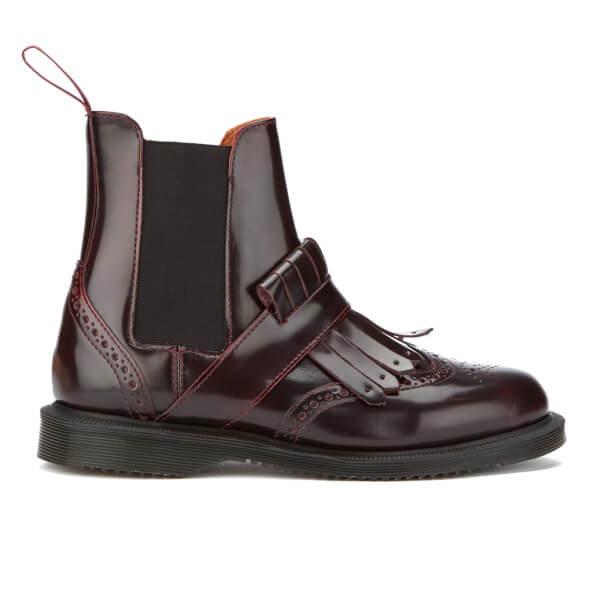Dr. Martens Women's Tina Arcadia Leather Kiltie Chelsea Boots - Cherry Red