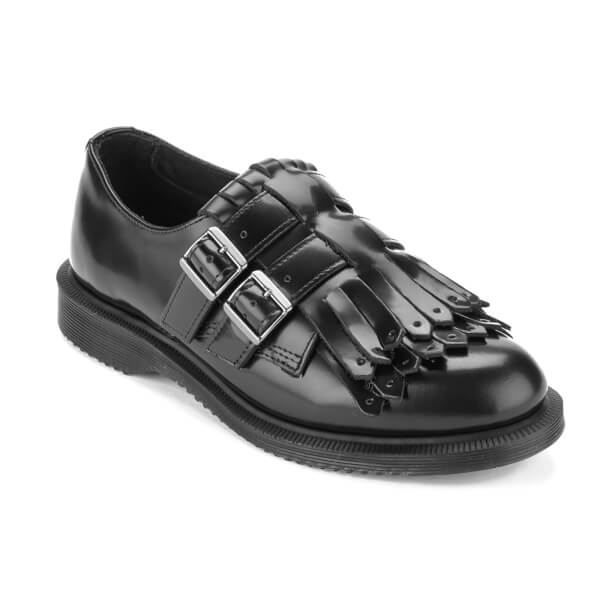 Dr. Martens Women's Ellaria Polished Smooth Double Strap Kiltie Monk Shoes  - Black: Image