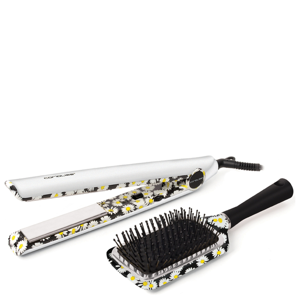 Corioliss C1 White Daisy Straightener Kit with Brush