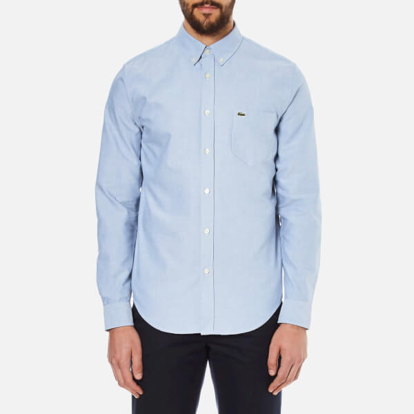 5451424137db06 Lacoste Men s Oxford Button Down Pocket Shirt - Officer White Mens ...