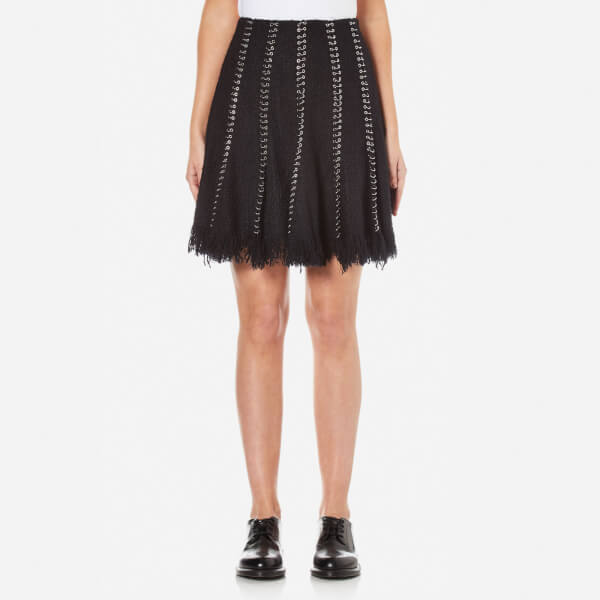 Alexander Wang Women's Flared Skirt with Ring Piercing Seams - Black